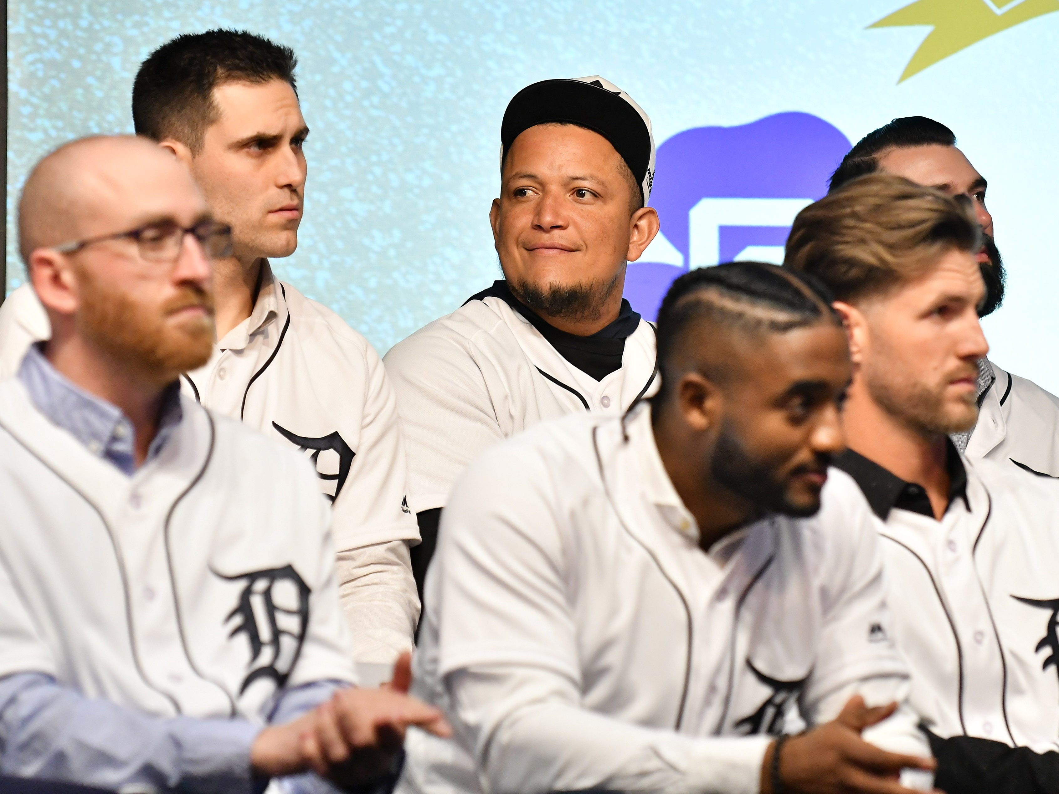 Tigers' Miguel Cabrera with pitcher Matthew Boyd, left, during a stop on the 2019 Detroit Tigers Winter Caravan at the Novi Civic Center in Novi, Mich. on Jan. 24, 2019.