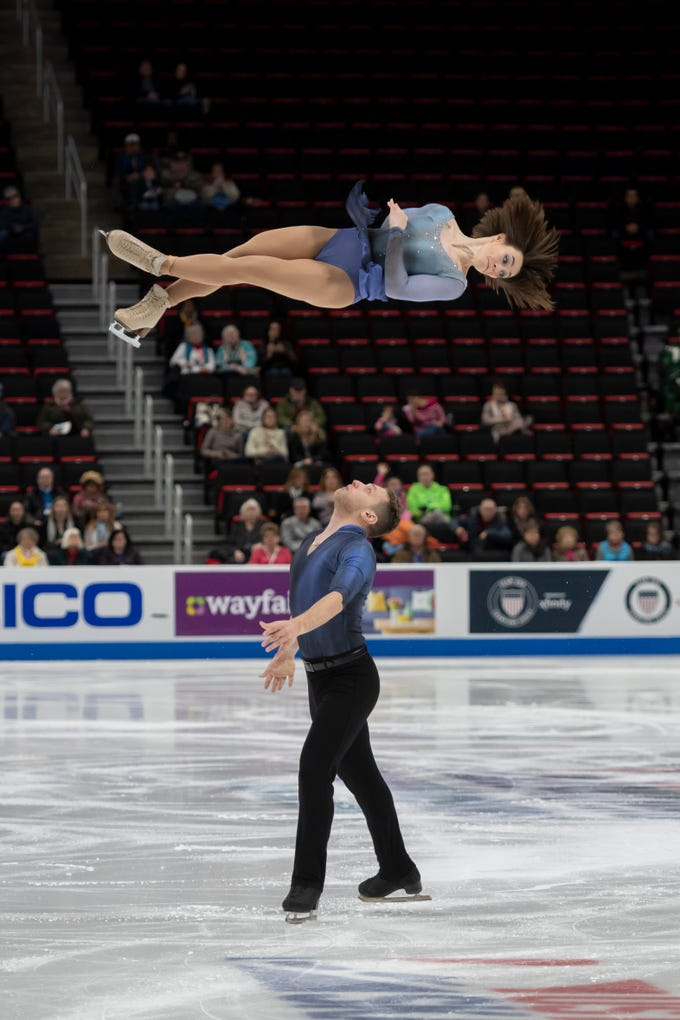 Allison Timien and Justin Highgate-Brutman compete in the senior pairs short program at the U.S. Figure Skating Championships at Little Caesars Arena, in Detroit, January 24, 2019.