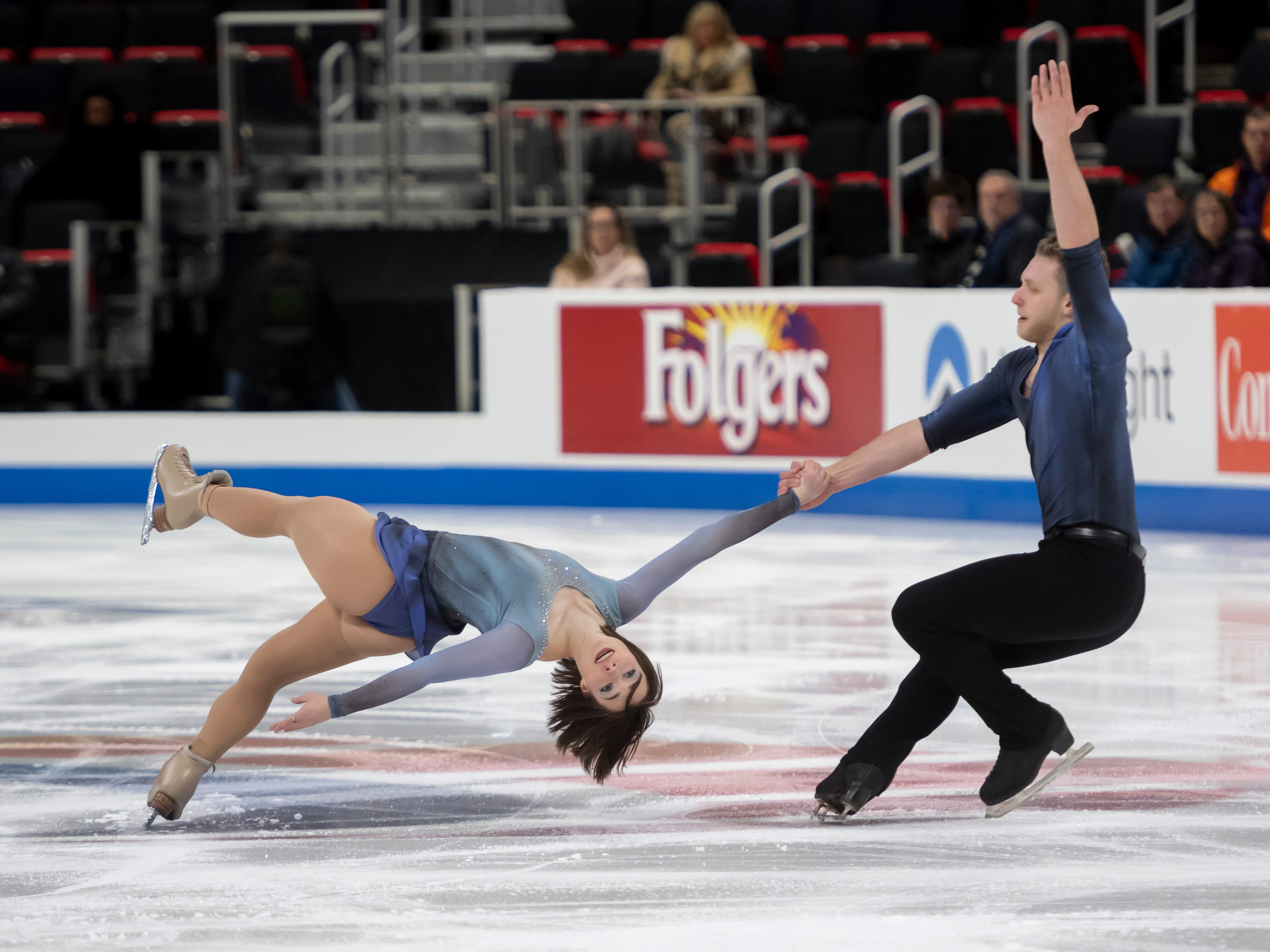 Allison Timien and Justin Highgate-Brutman compete in the senior pairs short program at the U.S. Figure Skating Championships.
