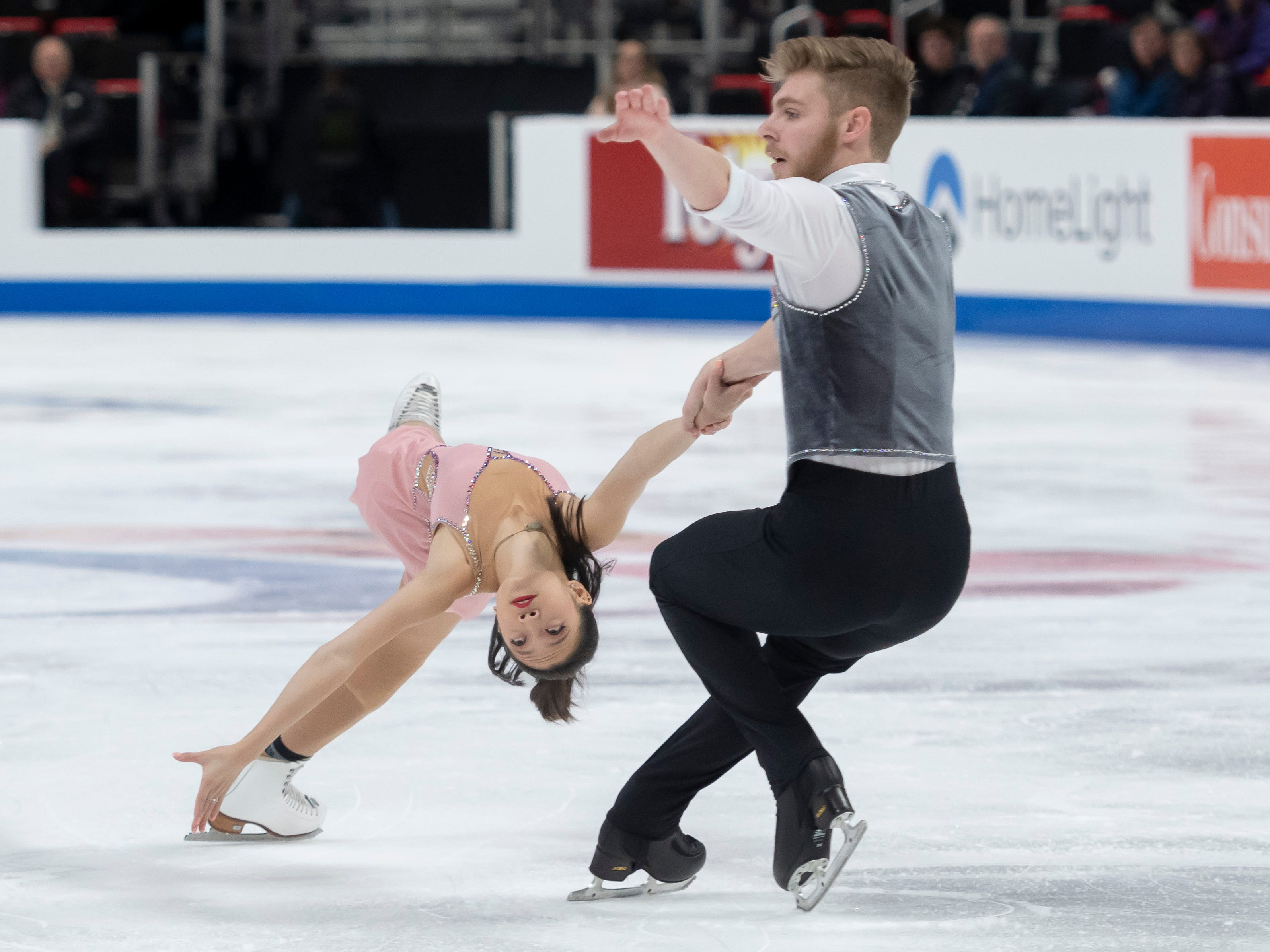 Chelsea Liu and Ian Meyh compete in the senior pairs short program at the U.S. Figure Skating Championships.