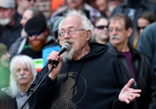Longtime marijuana advocate John Sinclair during the annual Hash Bash on the University of Michigan Diag on April 1 2018, in Ann Arbor.