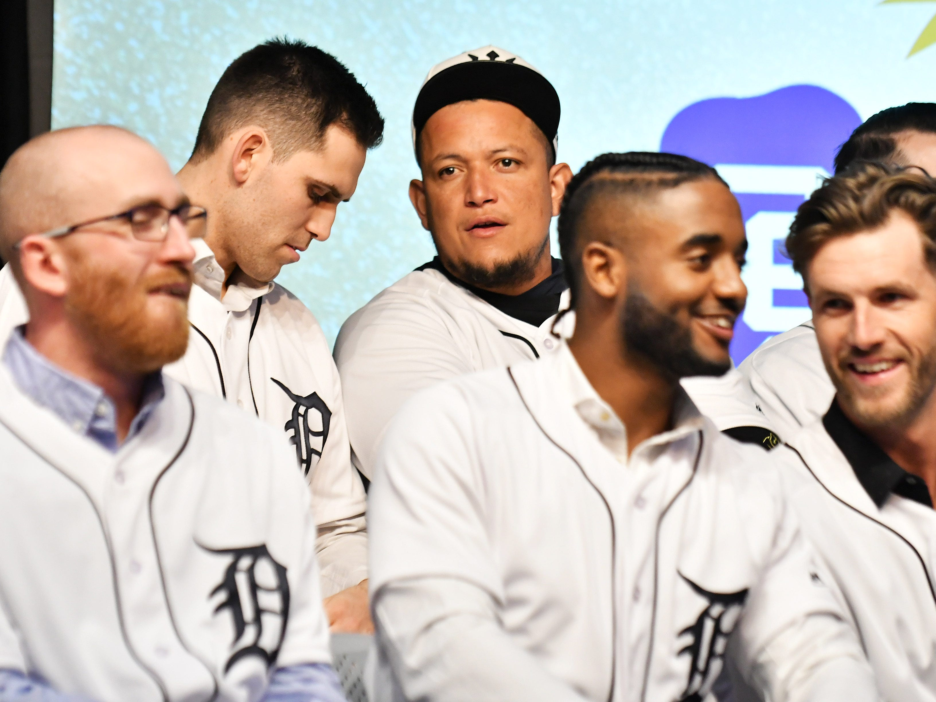 Tigers' Miguel Cabrera talks with pitcher Matthew Boyd, left, during a stop on the 2019 Detroit Tigers Winter Caravan at the Novi Civic Center in Novi, Mich. on Jan. 24, 2019.