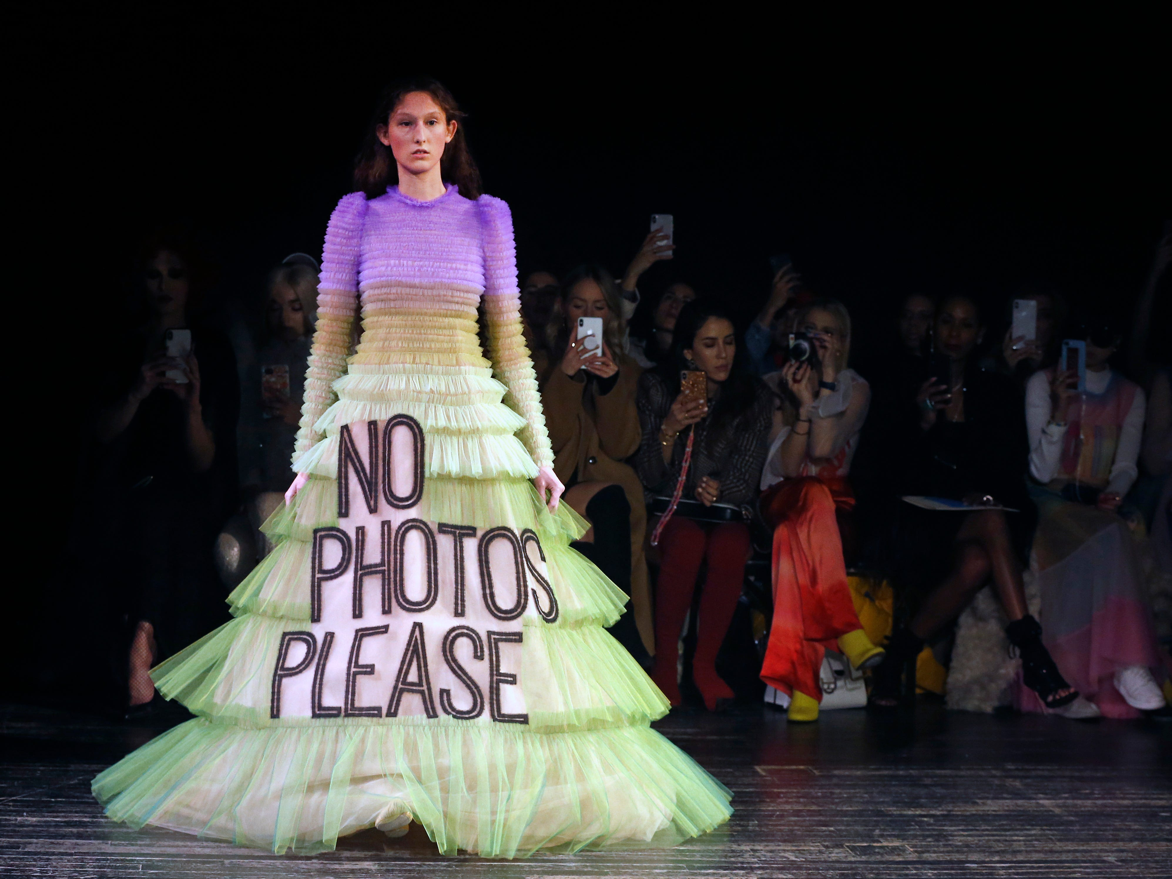 A model walks the runway during the Viktor & Rolf Spring Summer 2019 show as part of Paris Fashion Week on January 23, 2019 in Paris, France.