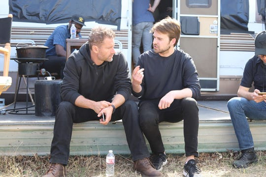 "Henry Dunham, right, and James Badge Dale on the set of ""The Standoff at Sparrow Creek."""