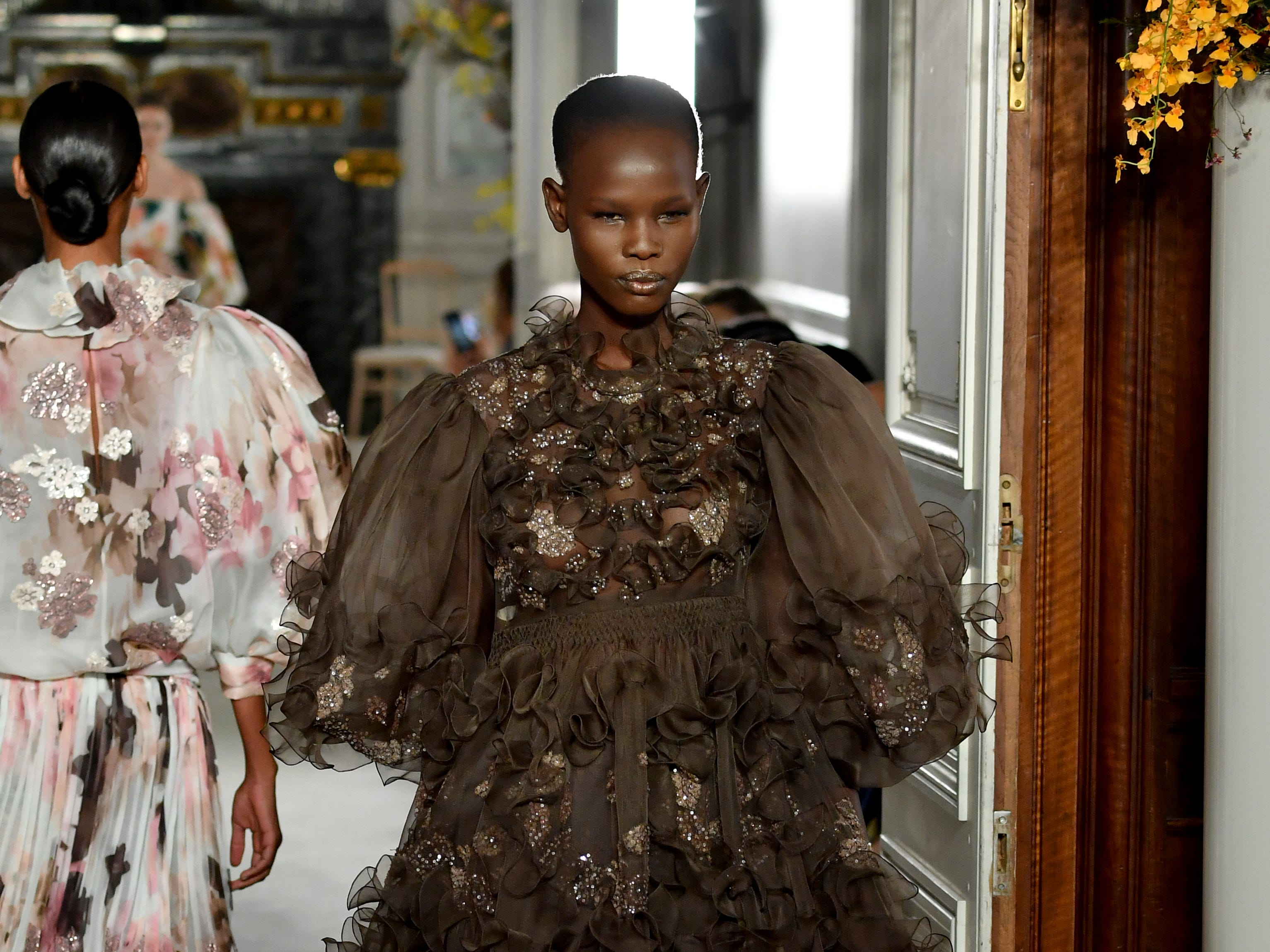 A model walks the runway during the Valentino Spring Summer 2019 show as part of Paris Fashion Week on January 23, 2019 in Paris, France.