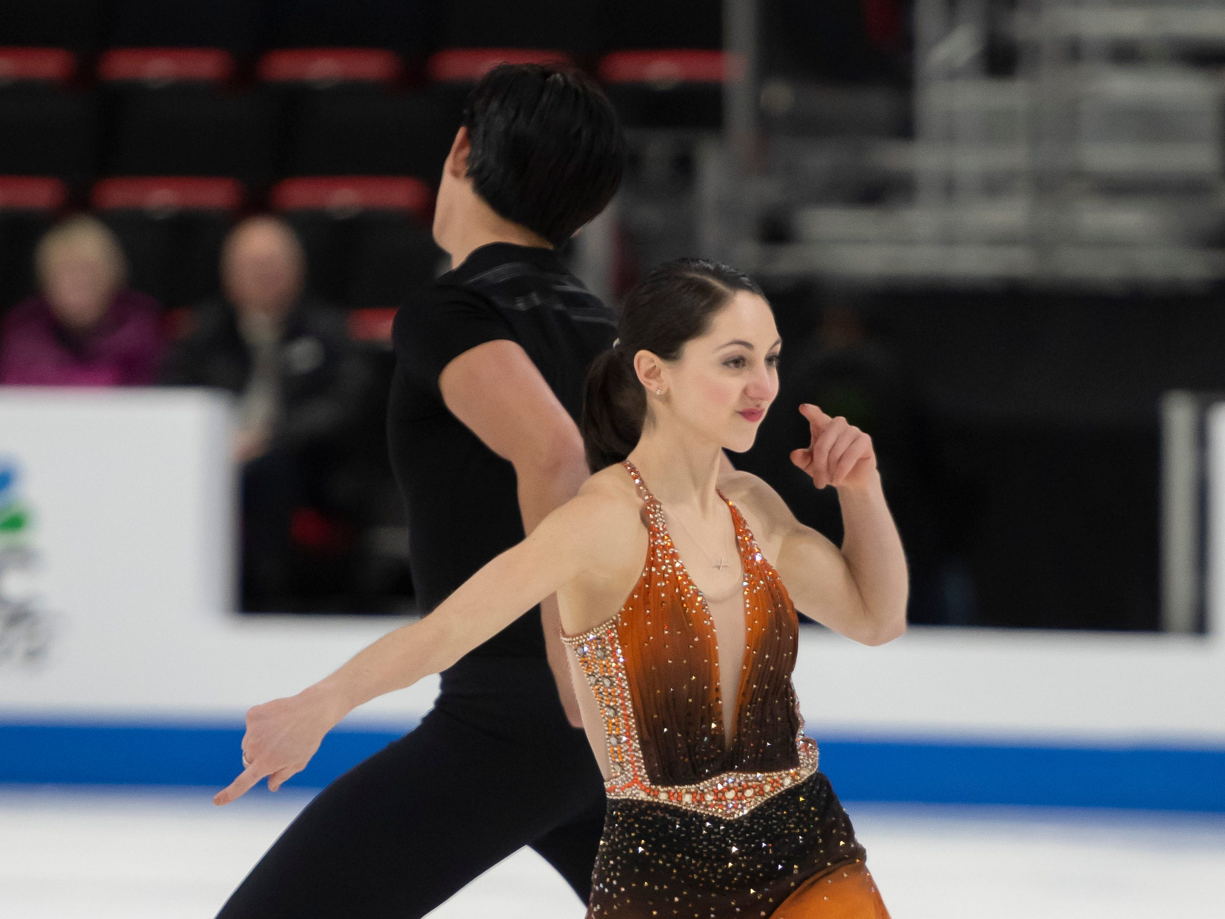 Olivia Serafini and Mervin Tran compete in the senior pairs short program at the U.S. Figure Skating Championships.