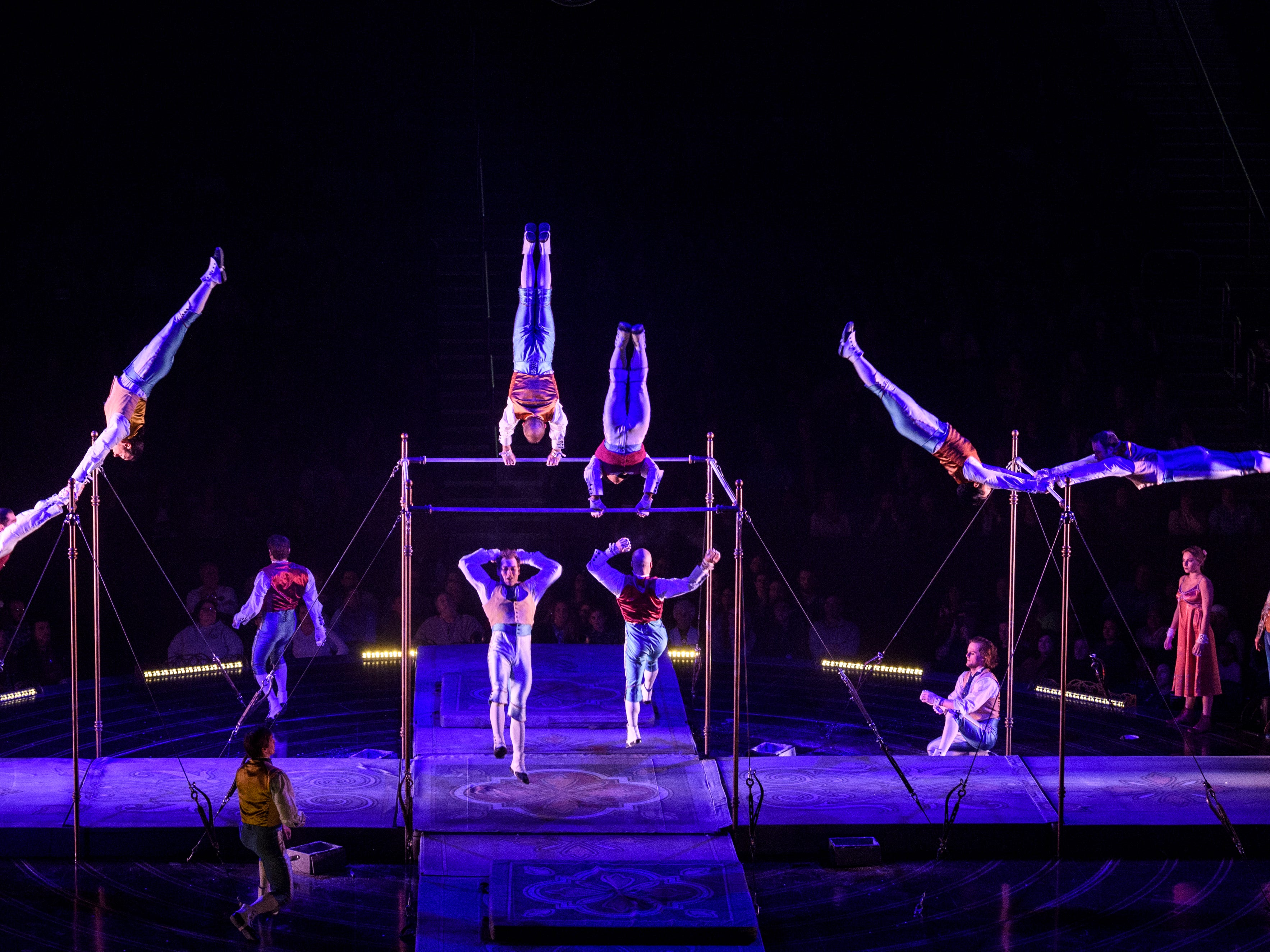 A group of performers mix horizontal bar techniques with circus arts during Tournik, the final act of Cirque du Soleil's Corteo show at Ford Center in Evansville, Ind., Wednesday night, Jan. 23, 2019.