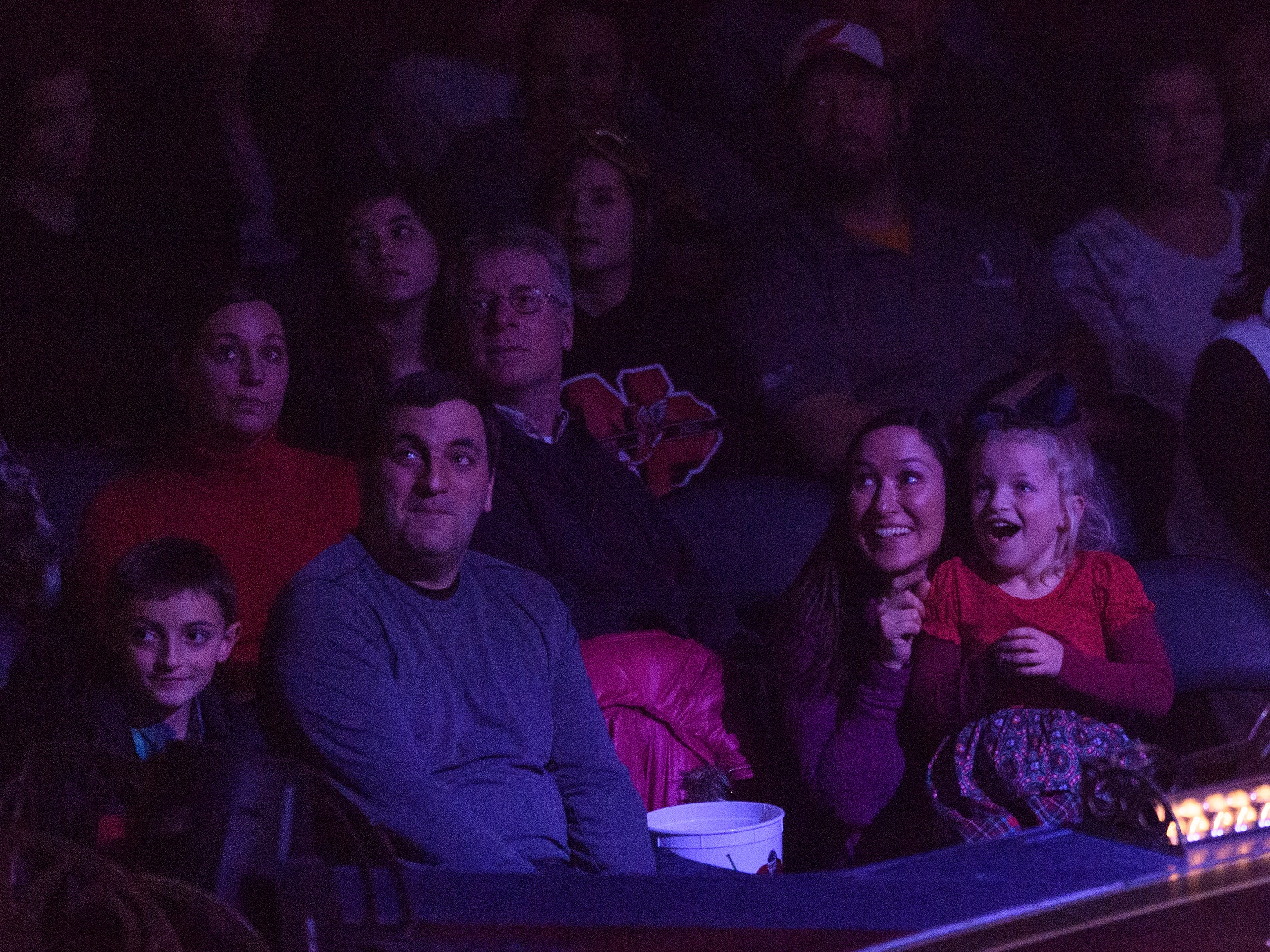 The crowd reacts to the performers during Cirque du Soleil's Corteo at Ford Center in Evansville, Ind., Wednesday night, Jan. 23, 2019. The show will be running until Sunday, Jan 27.