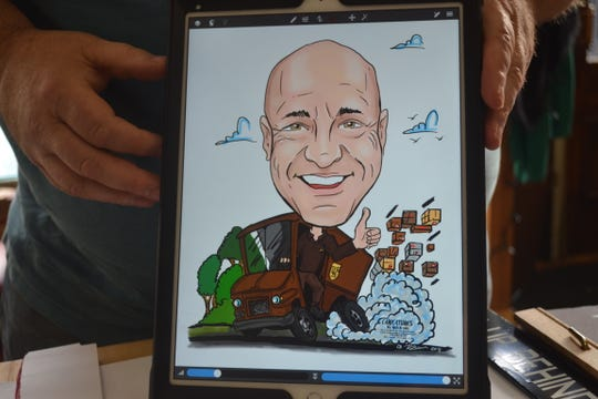 Rob Brown digitally created this caricature of his former UPS driver using an iPad. While Brown still creates paper and pen caricatures, many of his customers prefer digital images that can be easily reproduced.