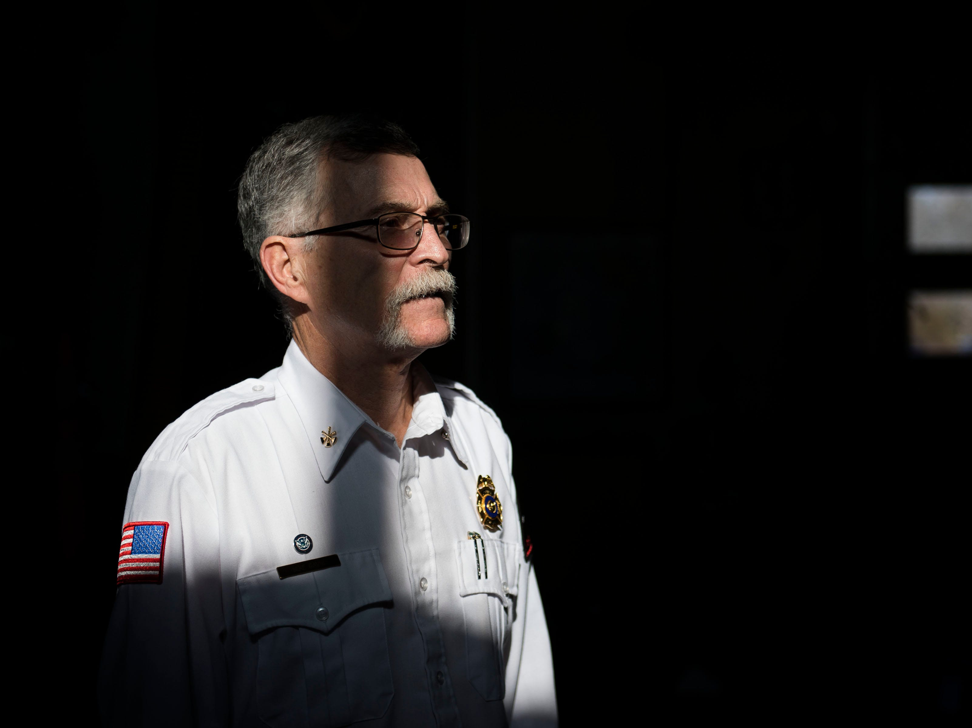 Retiring city emergency manager and battalion chief Mike Gavin poses for a portrait on Thursday, Jan. 24, 2019, at Poudre Fire Authority Station 10 in Fort Collins, Colo.