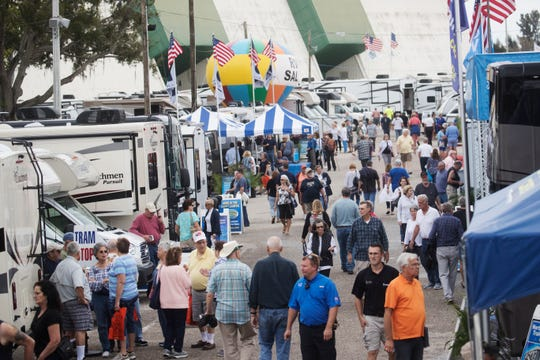 Crowds congregate at the The 34th annual Fort Myers RV Show at the Lee County Civic Center  on Thursday 1/24/2019.
