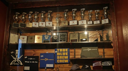 The multitude of awards that Legend Larry's has received for its wing sauces, Wednesday, January 23, 2019, in Sheboygan, Wis. The awards are on display at their Sheboygan Location.