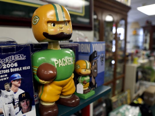 A paper-mache Packers display-model bobble head Green Bay Packers bobblehead available for purchase at Packer City Antiques in Ashwaubenon, Wis. Store owner Mike Worachek previously sold one that was in excellent condition for $30,000. Sarah Kloepping/USA TODAY NETWORK-Wisconsin