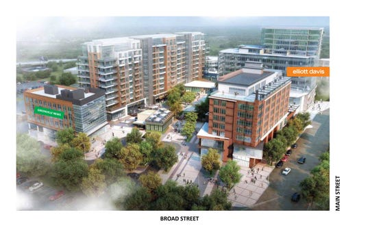 This rendering shows plans for Elliott Davis's new corporate headquarters in the new Falls Tower building at the Camperdown development.