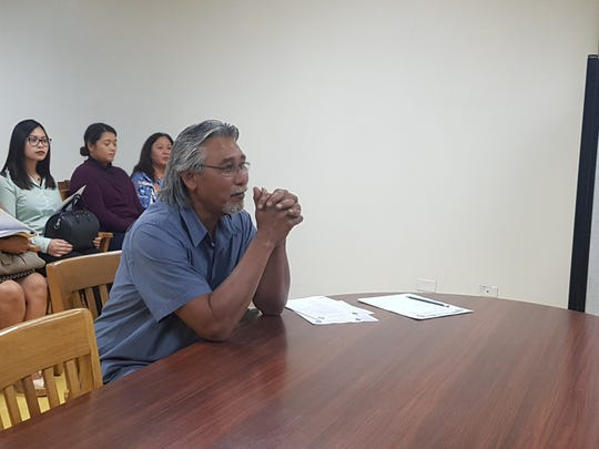 Guam Ancestral Lands Commission Executive Director Joe Angoco appears before the commission during a  meeting on Jan. 23, 2019. The commission approved Angoco's nomination through a unanimous vote.