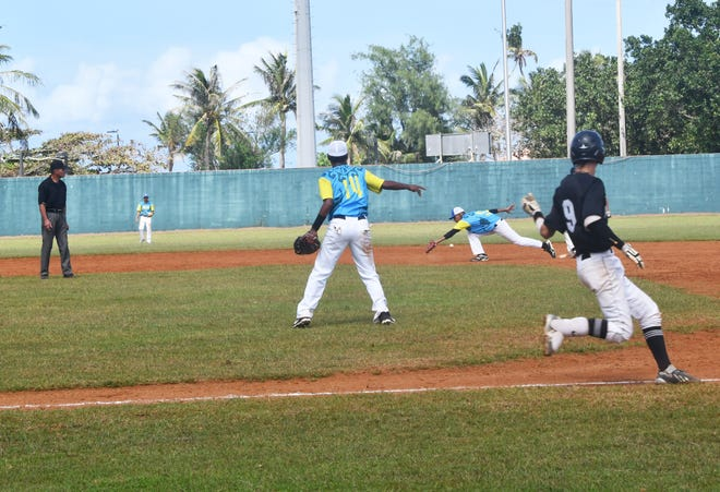 An errant throw to second base by Palau means both New Zealand runners are safely on base in the bottom of the seventh inning. New Zealand rallied from a 6-2 deficit to beat Palau in extra innings, 7-6 on Thursday in the U18 Baseball Confederation of Oceania Championships at the Paseo Stadium.
