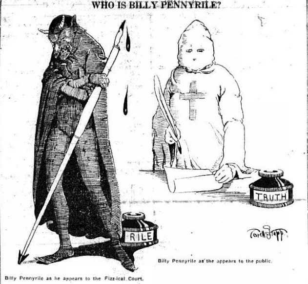 """The 1915 seminal movie """"The Birth of a Nation"""" glamorized the Ku Klux Klan and is largely credited with its resurgence in the 1920s. This cartoon, which appeared in The Gleaner April 14, 1916, indicates the favorable image the KKK had achieved by that time. The cartoon refers to the pen name of Gleaner publisher Leigh Harris, and how he was giving Henderson Fiscal Court a hard time. The cartoonist, a young Terrell Stapp of Corydon, later went on to win two Oscars while working with Walt Disney."""