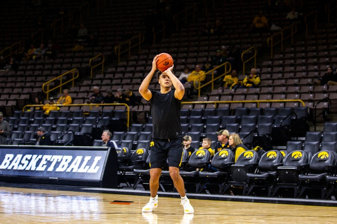 Iowa forward Cordell Pemsl warms up before a NCAA Big Ten Conference men's basketball game on Thursday, Jan. 24, 2019, at Carver-Hawkeye Arena in Iowa City, Iowa.