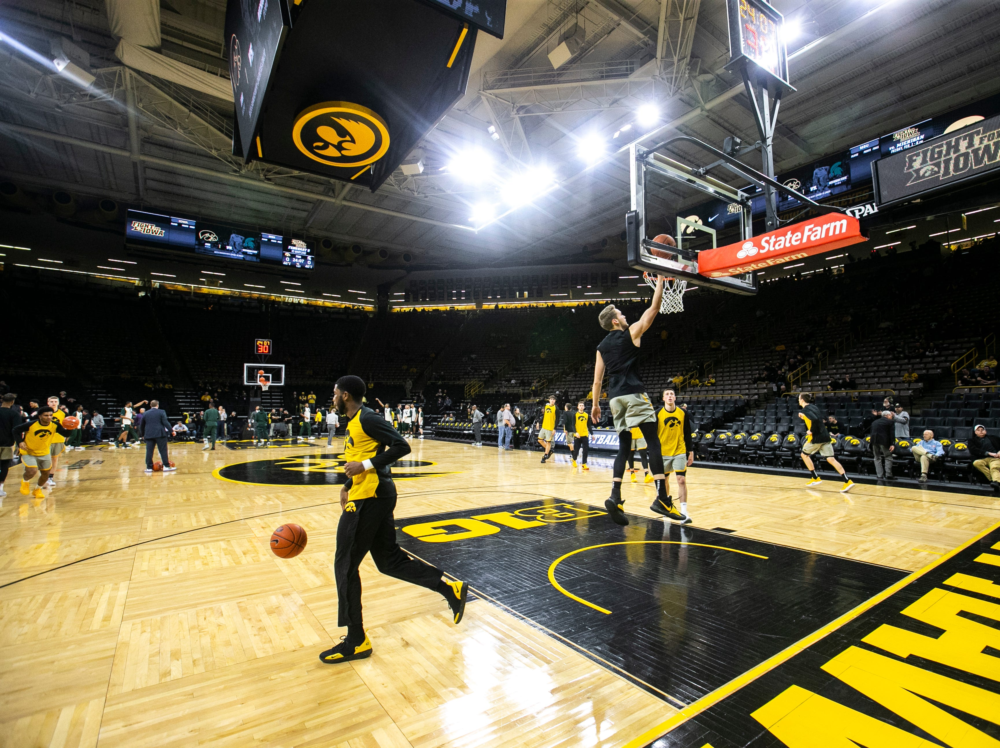 Iowa forward Riley Till makes a layup during warmups during a NCAA Big Ten Conference men's basketball game on Thursday, Jan. 24, 2019, at Carver-Hawkeye Arena in Iowa City, Iowa.