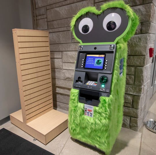 An ATM machine, dresses up to look like a mascot, inside the Mascot Hall of Fame in Whiting, Ind., Thursday, Jan. 3, 2019. The city, in the extreme northwest corner of the state, already enjoys an annual visitor influx in late July due to the city's Pierogi Festival.