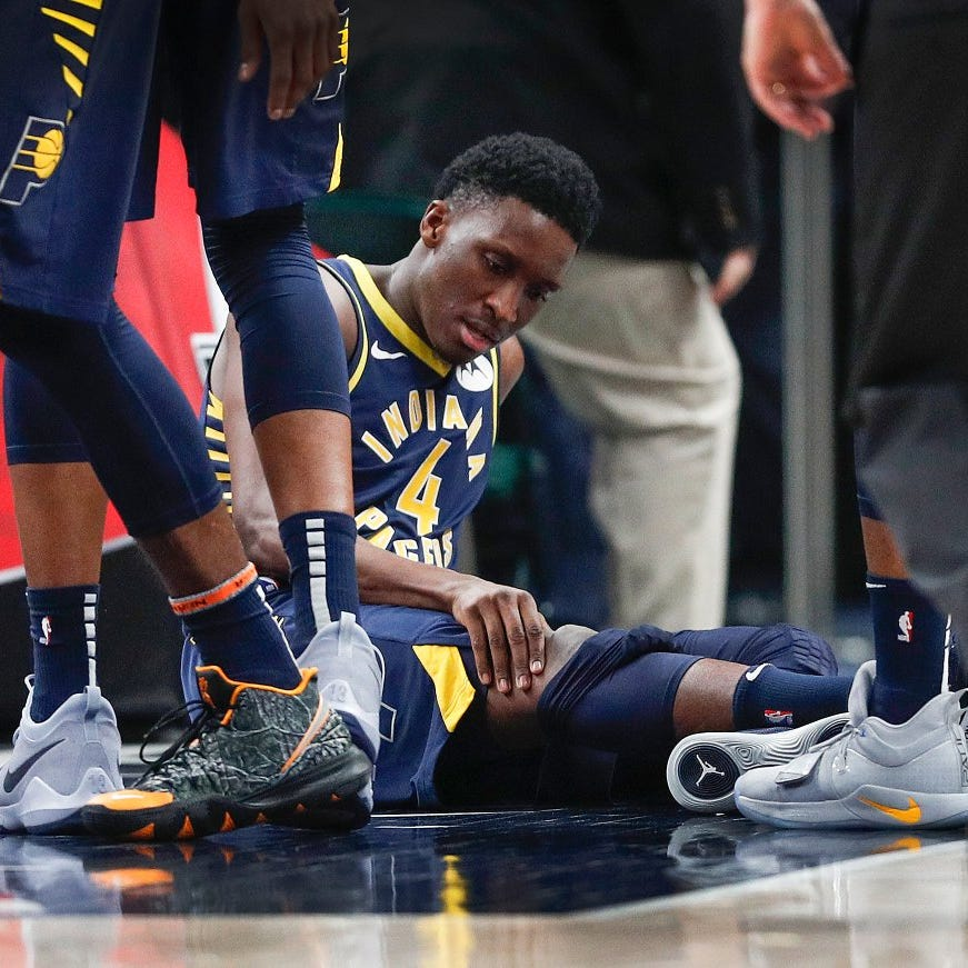 Victor Oladipo taken from court after suffering 'serious' injury