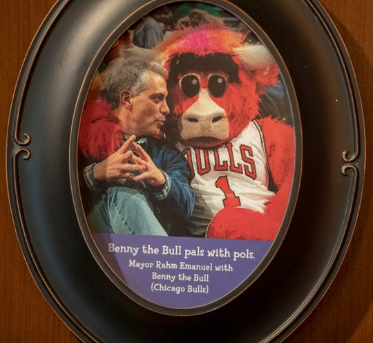 Memorabilia on the wall at the Mascot Hall of Fame in Whiting, Ind., Thursday, Jan. 3, 2019. The city, in the extreme northwest corner of the state, already enjoys an annual visitor influx in late July due to the city's Pierogi Festival.