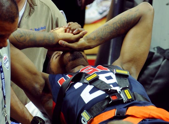 Paul George is shown after suffering a broken tibia and fibula in his right leg during the USA Basketball Showcase at Thomas & Mack Center in Las Vegas in 2014.