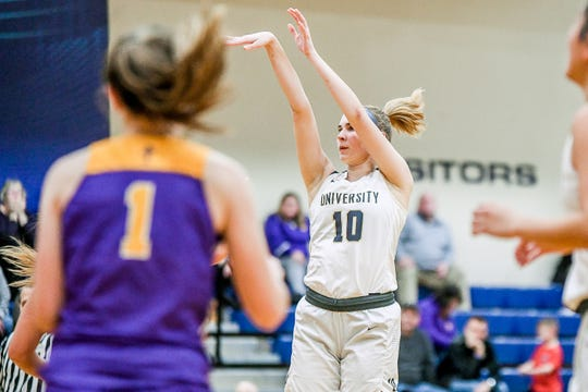 University's Lindsey Syrek is the team's leading scorer and rebounder.