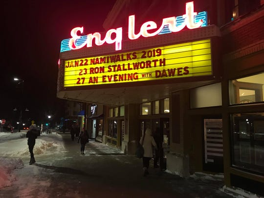 The marquee for Ron Stallworth's lecture at The Englert Theatre is shown on Jan. 23, 2019.