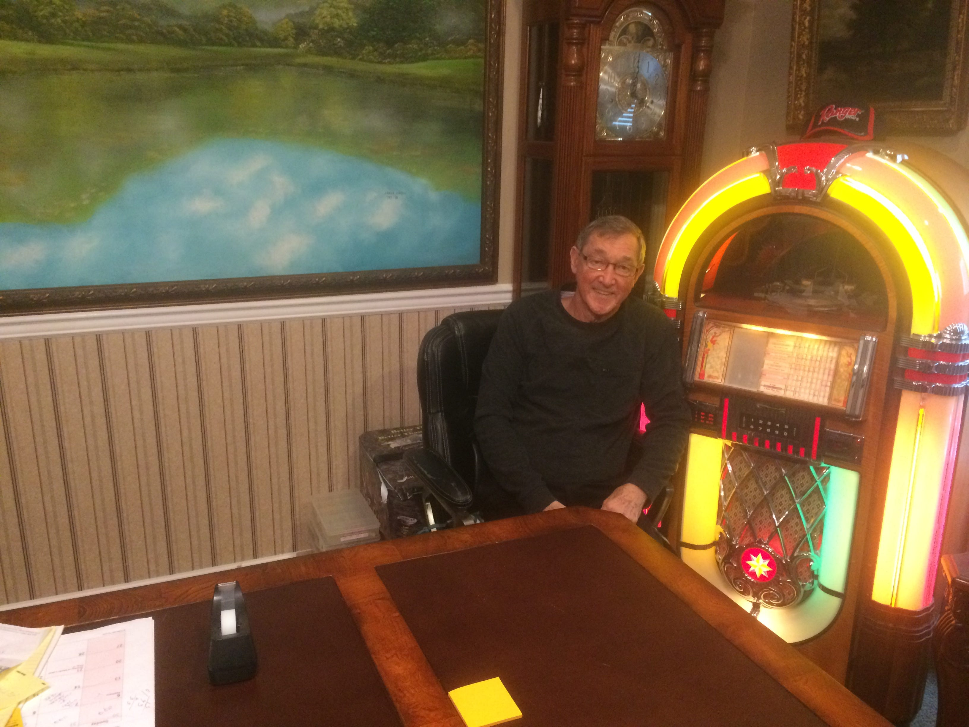 Howard Phillips' office is filled with some of his special items – like a working jukebox.