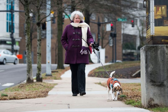 Peggy Hargif of downtown Knoxville walks her dog Lucy, down Summit Hill Drive towards Old City Thursday, Jan. 24, 2019.