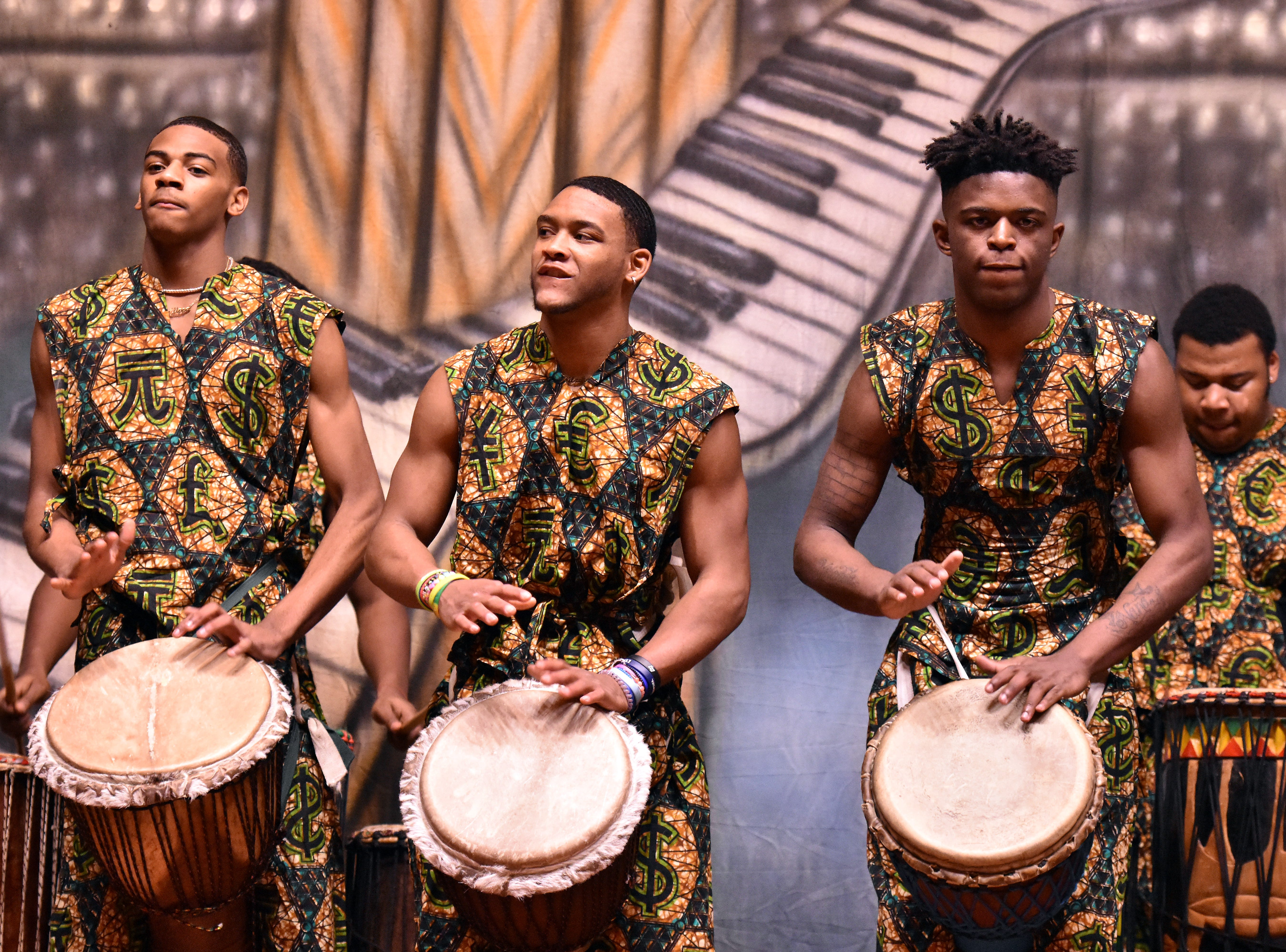 The West African drummers from Austin-East Magnet perform for the students at Holston MIddle School.