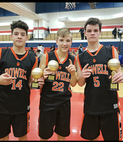 All-Knox County Tournament players from Powell Middle School are (from left): Ayden Greene, Bryce Jardret and Bryce Burkhart.