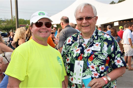 Steve Krempasky hangs out with Tom Sharp from Viamedia TV at the Red White & Blues Jam.
