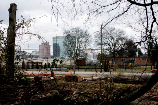 A view of downtown can be seen between overgrowth along Sevier Avenue in Knoxville, Tennessee on Thursday, January 24, 2019.
