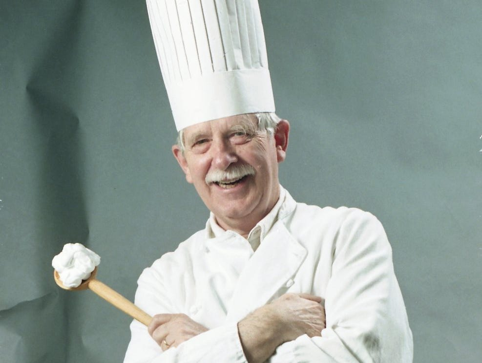 Charlie Daniel dressed as a chef for a food story in 1998.