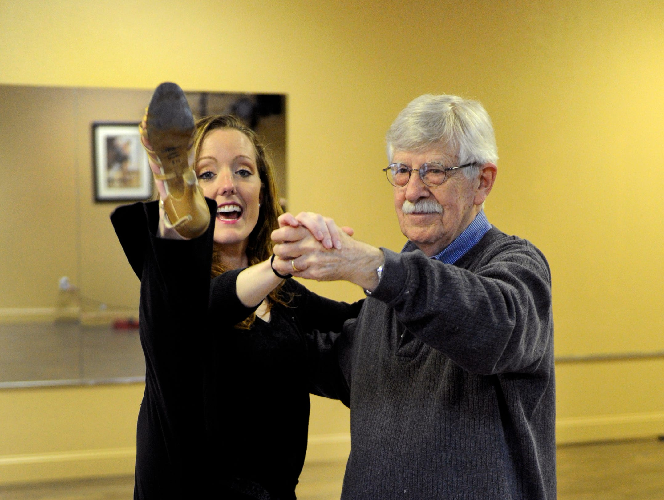 Charlie Daniel and his dance partner Stephanie Braeuner practicing Tuesday, Mar. 12, 2013 at Academy Ballroom. Charlie Daniel is representing the News Sentinel in the annual Children's Hospital fundraiser dancing w/ the knoxville stars.