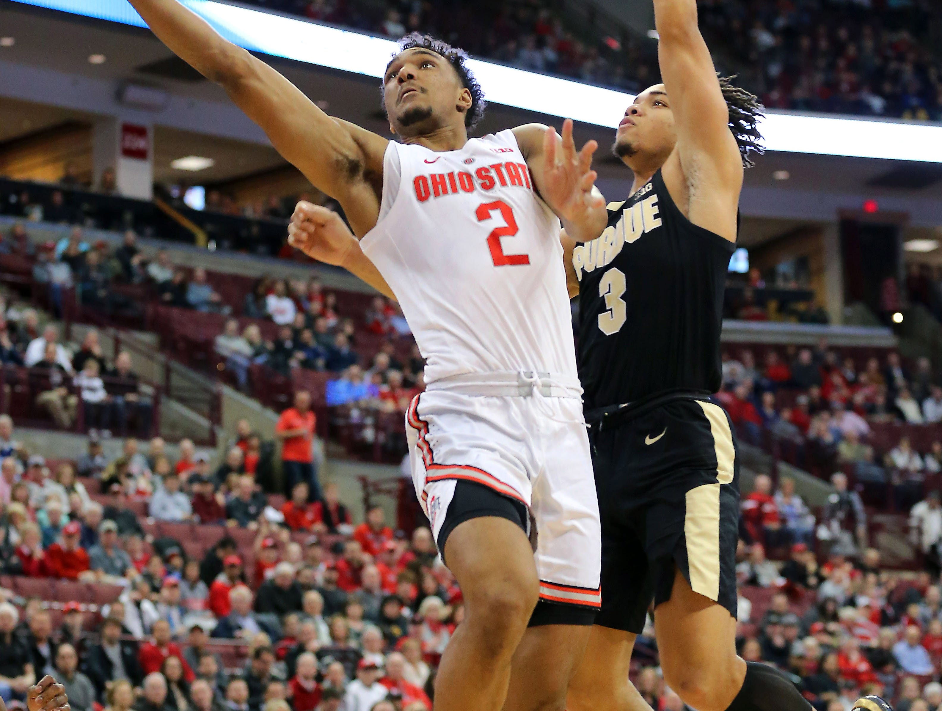 Jan 23, 2019; Columbus, OH, USA; Ohio State Buckeyes guard Musa Jallow (2) shoots against Purdue Boilermakers guard Carsen Edwards (3) during the first half at Value City Arena. Mandatory Credit: Joe Maiorana-USA TODAY Sports