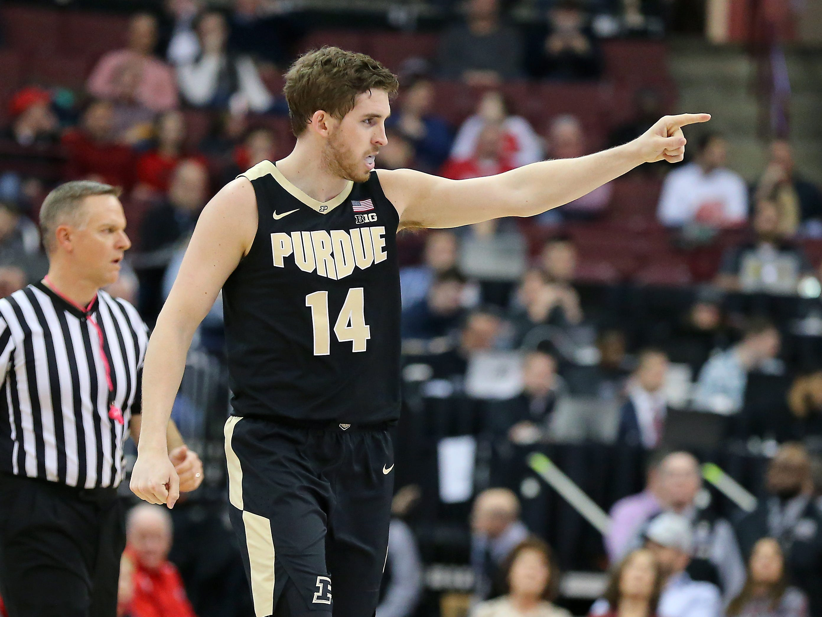 Jan 23, 2019; Columbus, OH, USA; Purdue Boilermakers guard Ryan Cline (14) celebrates after making a three point basket during the first half against the Ohio State Buckeyes at Value City Arena. Mandatory Credit: Joe Maiorana-USA TODAY Sports