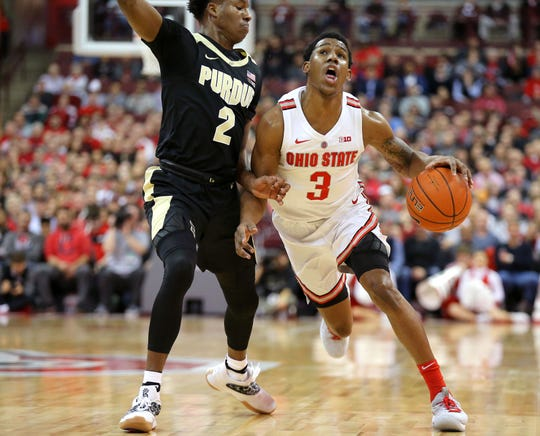Jan 23, 2019; Columbus, OH, USA; Ohio State Buckeyes guard C.J. Jackson (3) drives against Purdue Boilermakers guard Eric  Hunter Jr. (2) during the first half at Value City Arena. Mandatory Credit: Joe Maiorana-USA TODAY Sports