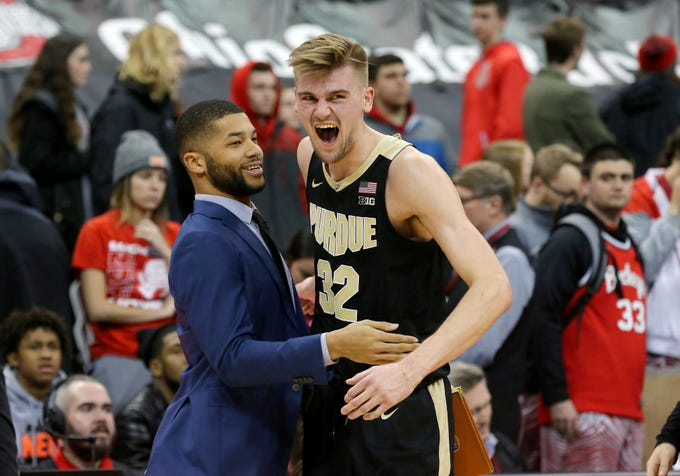 Jan 23, 2019; Columbus, OH, USA; Purdue Boilermakers center Matt Haarms (32) celebrates as time winds down against the Ohio State Buckeyes at Value City Arena. Mandatory Credit: Joe Maiorana-USA TODAY Sports
