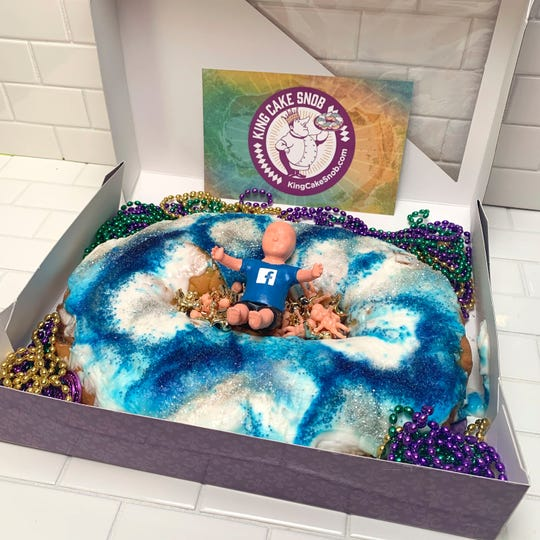 King Cake Snob and Innovative Advertising are sending this customized king cake to Facebook after the social media site reversed its decision banning ads featuring king cake babies.