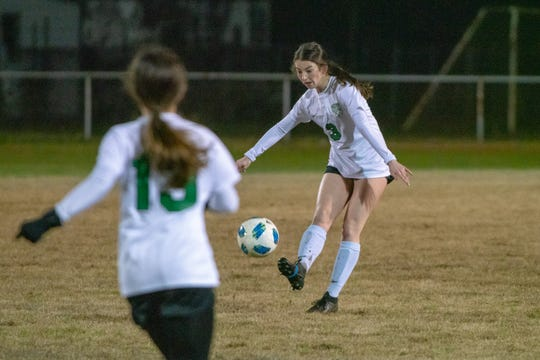 Lafayette's Morgan Price (3) kicks the ball to a teammate across the field as the Acadiana Wreckin' Rams take on the Lafayette High Lions at Bill Dotson Stadium on Jan. 23, 2019.