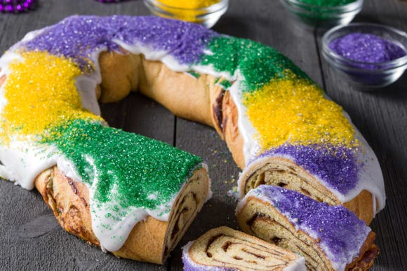 A traditional king cake is pictured at Rouses.