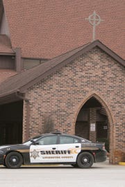 Livingston County Sheriff's Office deputies and Brighton Area Fire Authority personnel responded to a report of powder found in a container at Cornerstone Evangelical Presbyterian Church in Genoa Township Thursday, Jan. 24, 2019. Police said they found what appears to be a very small amount of ashes from cremated remains.