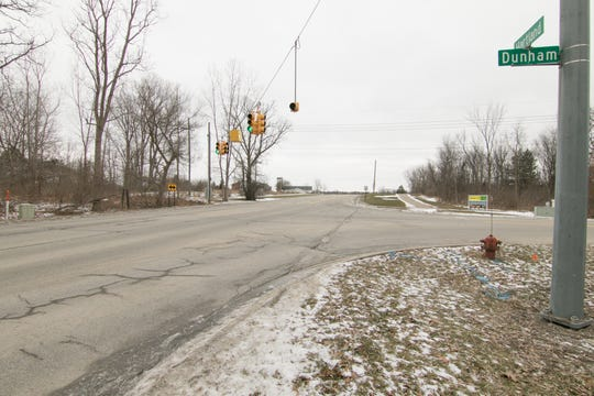 A crosswalk and crosswalk signals are planned to facilitate pedestrian traffic near Hartland High School at the intersection of Hartland and Dunham roads, shown Thursday, Jan. 24, 2019.
