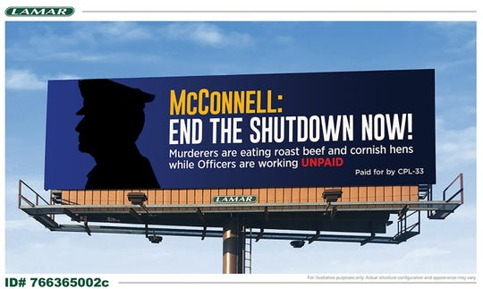 The union for federal corrections workers has been placing billboards around Kentucky about the government shutdown, aimed at Sen. Mitch McConnell.
