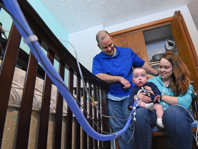 Stephen Hill is finally home after spending the first eleven months of his life in the hospital. His parents Evan and Brittany Hill are pleased he is home. They along help from visiting nurses are monitoring Stephen closely.