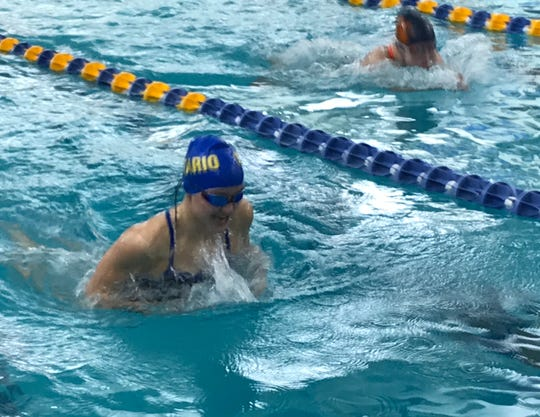 Ontario junior Myla Creed shows her record form in the 100 breaststroke.