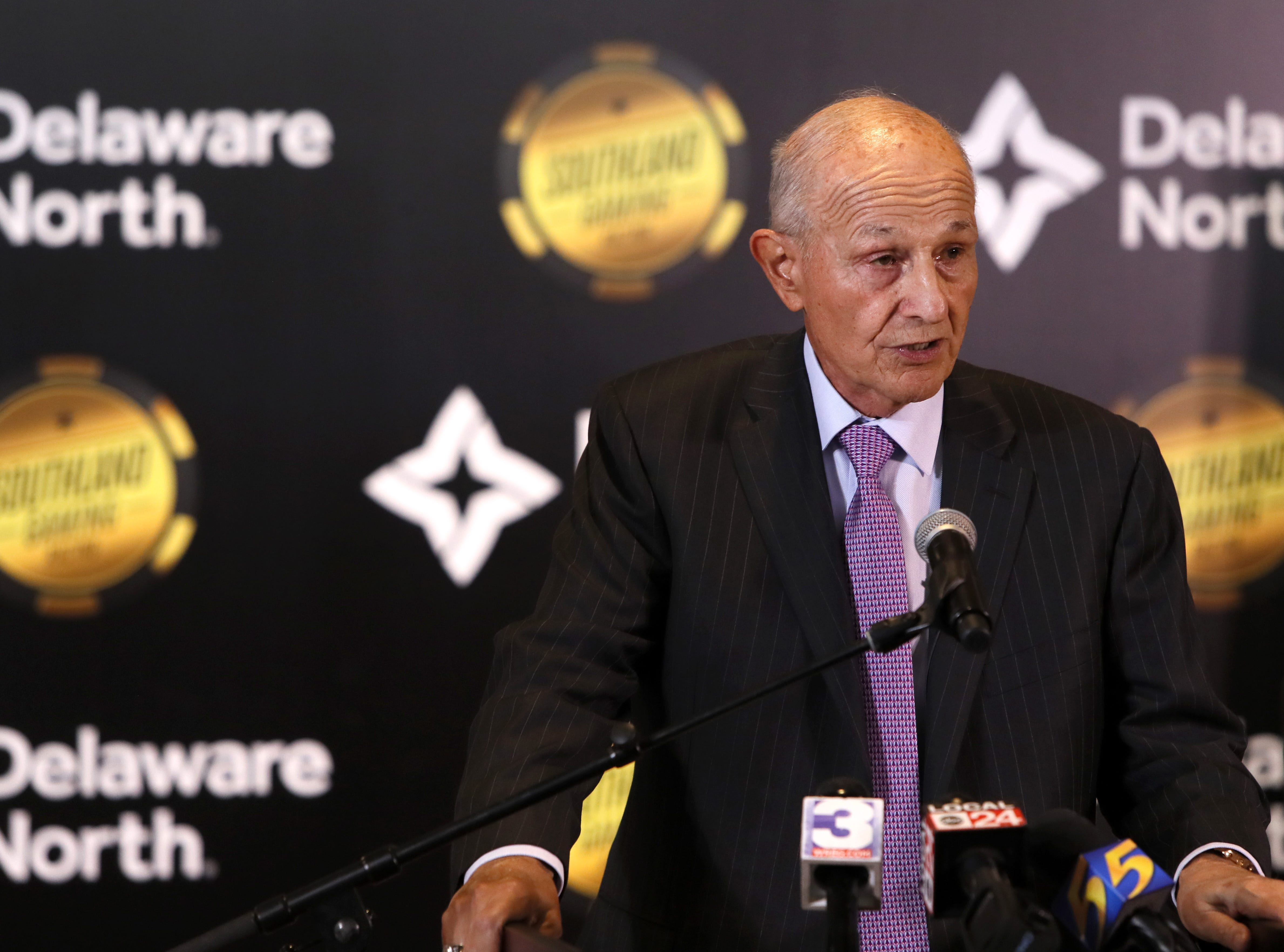 Jeremy Jacobs, chairman of hospitality company Delaware North, makes an announcement of their $250 million expansion of Southland Gaming and Racing at the West Memphis casino on Thursday, Jan. 24, 2019.